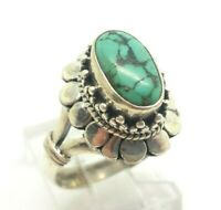 Ornate Oval Turquoise Sterling Silver 925 Ring 8g Sz.6.75 DWK482