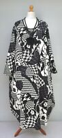 """PLUS SIZE BALLOON QUIRKY PATTERN MAXI DRESS*BLACK/GREY/WHITE*BUST UP TO 58"""" XXL"""