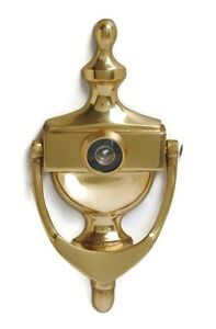 Victorian Urn Brass Door Knocker Complete With Matching Viewer / Spy Hole Glass