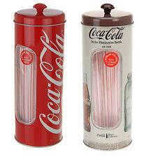 Coca Cola Retro Style Tin Straw Container With 50 Straws - 5  Designs