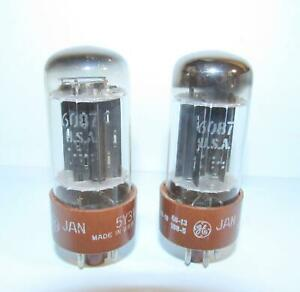 Matched Pair-GE 6087 Military spec, brown base 5Y3WGTB rectifier tubes.