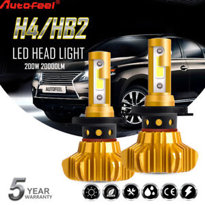 Autofeel 2x H4 9003 LED Headlight Bulbs Globes Hi-Lo Beam For Toyota Hyundai