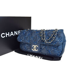 Auth CHANEL CC PARIS BYZANCE Chain Matelasse Shoulder bag Nylon Blue 91B1272