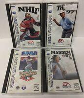 4 Sega Saturn Game Lot Madden PGA Tour NHL 97 World Series Baseball MINT DISCS