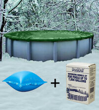 18' Round Above Ground Winter Pool Cover + 4'x4' Air Pillow + Winterizing Kit
