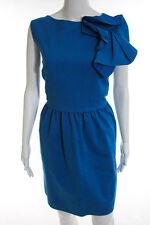RAOUL Blue Cotton Electric Rosette Sheath Dress Size 14 New $415 10226929
