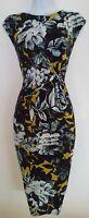 Womens Phase Eight Black Mustard Floral Knot Waist Gathered Sleeveless Dress 12.