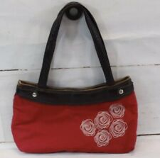 Thirty-One Classic Red Skirt Purse Handbag With White Embroidered Design