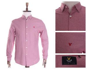 Men's LYLE & SCOTT Red Zig Zag 100% Cotton LS Shirt Size M