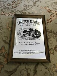 Framed Southern Comfort pub mirror Vintage 1970s 13'' Tall Wall Mirror