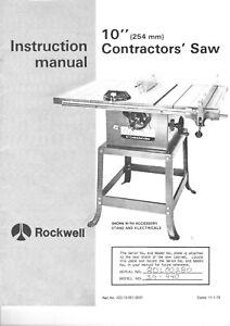 """Rockwell-Delta Model 34-440 10"""" Contractors Saw Instruction Maint Manual + Parts"""