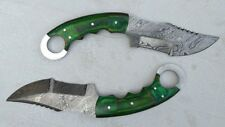 Custom Handmade Knife King's Damascus steel tracker Karambit pair