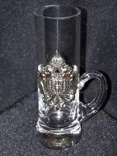 Obstler-Kristall-Stamperl EDELGLAS WIEN mit Applikation K & K Monarchie Wappen
