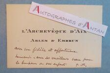 Cdv autographe Edwin BONNEFOY Archevêque AIX EN PROVENCE ARLES & EMBRUN Cardinal