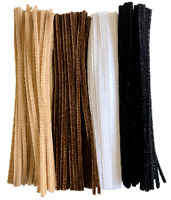 "100 Pipe Cleaners Craft Stems Chenille  BROWN BLACK GREY 30cm 12"" Animal Hair"