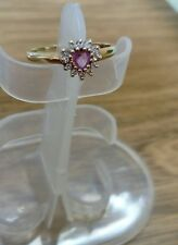 GOLD RING 9 CT SIZE O HEART SHAPED SMALL DIAMONDS & PINK SAPHIRE (172r) SEE PICS