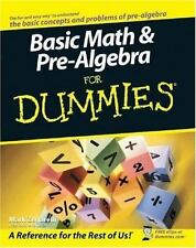 Basic Math and Pre-Algebra for Dummies by Mark T. Zegarelli (2007, Paperback)