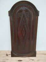 genuine worked leather and wood panel of a church vintage 30's brass nails rare