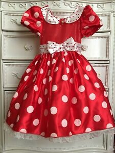 Disney Store Girls Minnie Mouse Costume Dress, Red Hearts, Size 7-8