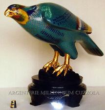CLOISONNE HAWK EAGLE ADLER VINTAGE OLD COLLECTABLE HAND CARVED BIRDS HUGE AQUILA