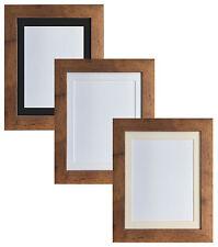 Metro Vintage Wood Picture Photo Frames with Black White & Ivory acid free Mount