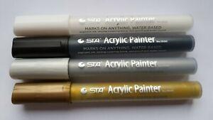 Acrylstifte STA - Special Set - 4 Stifte - Farben gold silber schwarz weiß