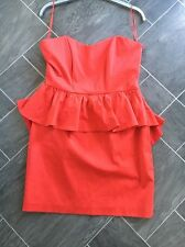 RED OASIS SIZE 12 SHORT PEPLUM STYLE SLEEVELESS DRESS WITH LARGE BOW DESIGN