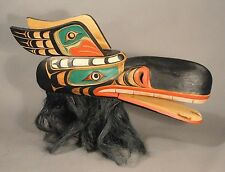 Reproduction Native American Indian Mask On Stand Hand Carved & Hand Painted