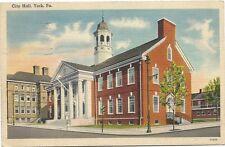 Vintage Postcard City Hall York Pennsylvania PA 1944