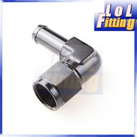 """90 Degree 8 AN AN 8 AN -8 Female to 1/2"""" (13mm) Barb Hose Adapter Fitting Black"""