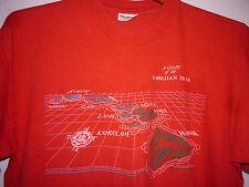 Vintage 80s Chart Of Hawaiin Islands T Shirt Red L
