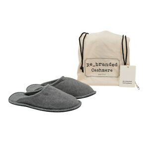 Italian Luxury Re_branded Cashmere Slippers Pure Cashmere Grey Made in Italy