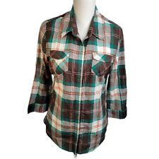 Arizona Womens Top Size L Brown Green Plaid 3/4 Sleeves Button Down Collared