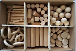 Holz Bastel Sortiment, Buche, verschiedene Stäbe, Kugeln, Halbkugeln und Ringe