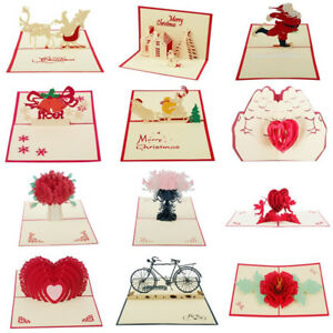 Multi Style 3D Pop Up Greeting Cards Christmas Birthday Valentine Postcard Gifts