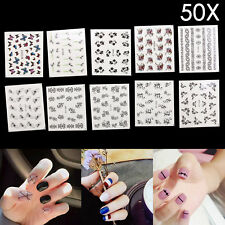 50 Sheets Nail Art Transfer Stickers UK 3D Flower Decal Manicure Decoration Tips