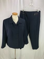Talbots Woman Blue Stretch Pant Suit 16P Petite Casual style