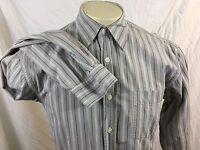 Lucky Brand Mens sz S Long Sleeve Gray Striped Shirt Button Front