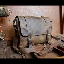 Vintage Rugged Leather Men bag Briefcase Laptop Messenger Shoulder Bag Satchel