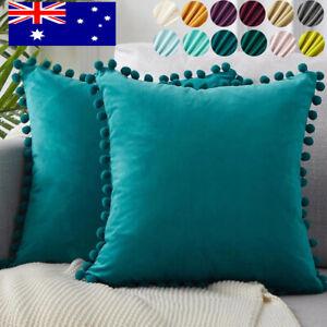 1/2x Velvet POM POM Cushion Cover Ball Fringe Decor Throw Pillow Cover 45x45cm