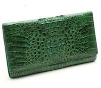 Wallet Genuine Crocodile Alligator Skin Leather Women Long Clutch Handbag Green