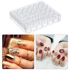 Clear Plastic Nail Art Bead Jewelry Diamond Storage with 30pcs Small Round Jars