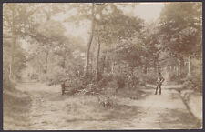 More details for morton, bourne, lincs. man in bowler hat & young boy in bourne woods. 1906 rppc