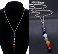 Women 7 Chakra Beads Pendant Chain Necklace Yoga Reiki Healing Balancing Jewelry
