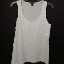 Ann Taylor Sleeveless White Sequin T-Shirt Stretch Tank Women's Top Size Large P