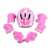 Kid Roller Skating Bike Riding Helmet 7pcs Wrist Elbow Pad Protective Gear Set