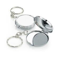Cute Mini Compact Mirror Keyring Chain in Silver Tone 3.5 cms