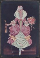 Playing Cards 1 Single Card Old Antique De La Rue Wide * GEORGIAN GIRL + FLOWERS