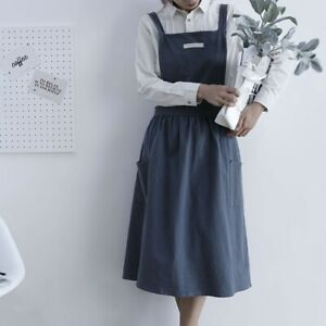 Cotton Linen Sleeveless Apron Kitchen Bib Cross Back Adult Pinafore Home Florist