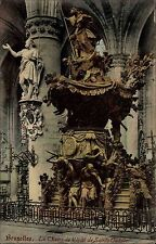 Bruxelles Brüssel Belgien frankierte AK 1907 Eglise Kirche Sainte Gudule Statue